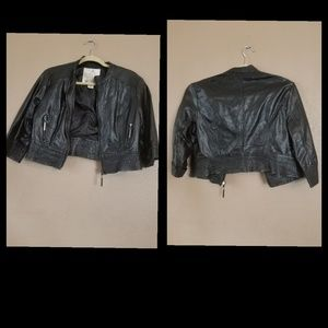 Arden B. Faux Leather 3/4's Sleeve Jacket size L